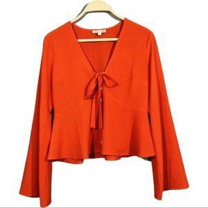 Gianni Bini xs blouse boho hippie crop bell Sleeve